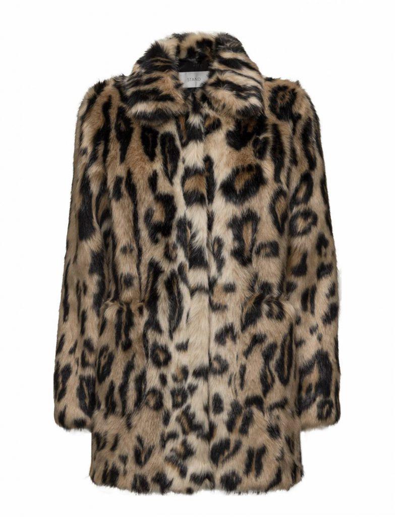 Trendiga höstjacka, fuskpäls, leopard.