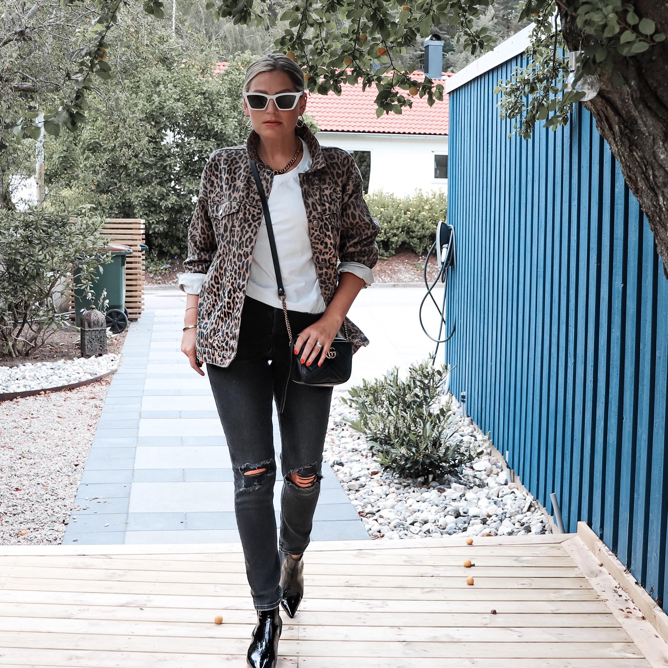 Leopardjacka, leopardmönstrad jacka, jeansjacka, denimjacka, dagens outfit, Göteborg